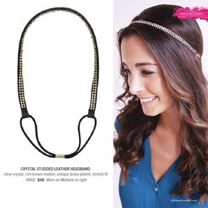 C+I Crystal Studded Leather Headband H002